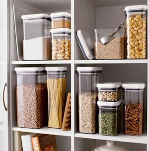 For extra visual pleasure, decant as many food items as you can into clear containers.